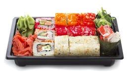 Set of sushi in black plastic box Royalty Free Stock Image