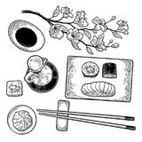 Set Sushi. Vintage black vector engraving. Set Sushi. Chopsticks, wasabi, nigiri, rolls, board, soy sauce, bottle, bowl, sakura cherry branch with flowers and royalty free illustration