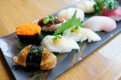Set of Sushi. Delicious dish of nigiri sushi Royalty Free Stock Photo