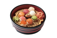 Set of sushi with the different types of fish Royalty Free Stock Photography