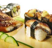 set sushi för kokkonstjapan Arkivfoton