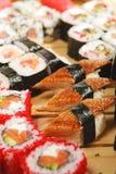 set sushi för kokkonstjapan Royaltyfri Bild