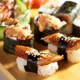 set sushi för kokkonstjapan Royaltyfri Foto