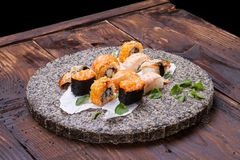 set sushi för kokkonstjapan Arkivfoto