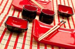 set sushi för svart red Royaltyfri Fotografi