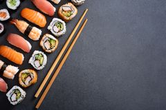 Set of sushi food with copy space royalty free stock image