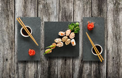 Set of sushi gunkan at wood. Stock Photos
