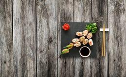 Set of sushi gunkan at wood. Stock Photo