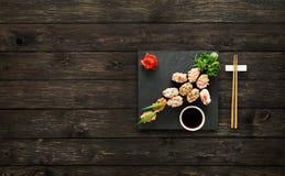 Set of sushi gunkan at wood. Stock Image