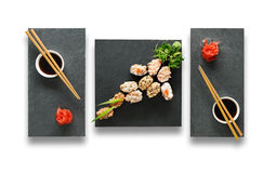 Set of sushi gunkans isolated at white. Royalty Free Stock Images