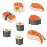 Set of sushi icons. Cute cartoon icon set of sushi Royalty Free Stock Images