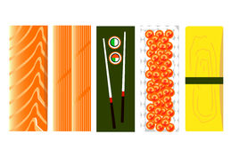Set of sushi ingredients patterns , illustrations Royalty Free Stock Photography