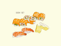 Set of sushi , japanese food . hand drawn water color sketch vector. vector illustration