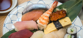 Set of sushi, Japanese food Stock Photos