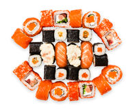 Set of sushi, maki, gunkan and rolls with salmon Royalty Free Stock Photos