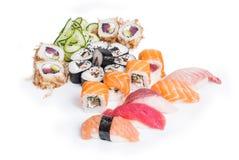 Set of sushi maki and nigiri. On white background Stock Photo