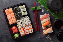 Set of sushi and maki roll and green tea Stock Image