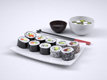 Set of sushi and maki roll royalty free stock photography