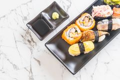 Set of sushi and maki roll. Japanese food style stock photography