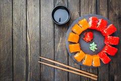 Set of sushi or maki roll stock image