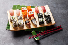Set of sushi and maki roll Stock Image