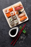 Set of sushi and maki roll Royalty Free Stock Photo