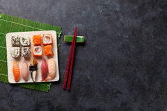Set of sushi and maki roll Stock Photography