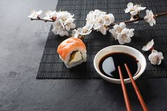Set of sushi and maki rolls with branch of white flowers on stone table. Top view royalty free stock image