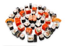 Set of sushi, maki and rolls isolated on white background Royalty Free Stock Images