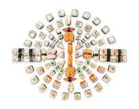 Set of sushi, maki and rolls isolated on white background Royalty Free Stock Photos