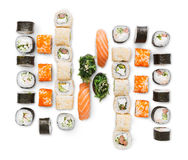 Set of sushi, maki and rolls isolated on white background. Japanese food restaurant delivery - sushi maki, gunkan and california roll big party platter set stock image