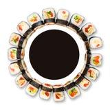 Set of sushi, maki and rolls isolated on white background Royalty Free Stock Image