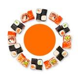 Set of sushi, maki and rolls isolated on white background Stock Photos