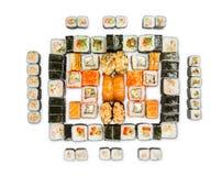 Set of sushi, maki and rolls isolated on white background Royalty Free Stock Photo
