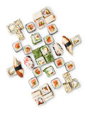 Set of sushi, maki and rolls isolated on white background. Japanese food restaurant delivery - sushi maki, unagi and california roll big party platter set royalty free stock image
