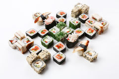 Set of sushi, maki and rolls isolated on white background Stock Image