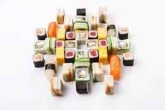 Set of sushi, maki and rolls isolated on white background Stock Images