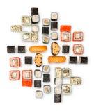 Set of sushi, maki and rolls isolated on white background Royalty Free Stock Photography