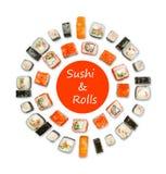 Set of sushi, maki and rolls isolated on white background