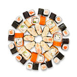 Set of sushi, maki and rolls isolated at white Royalty Free Stock Images