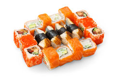 Set of sushi, maki and rolls isolated at white Royalty Free Stock Image