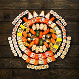 Set of sushi, maki and rolls at wood royalty free stock photo