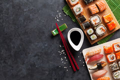 Set of sushi and maki Royalty Free Stock Images