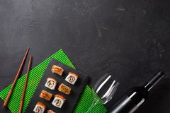 Set of sushi and maki on stone table. Top view with copy space royalty free stock photos