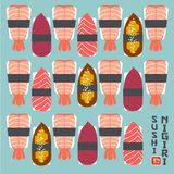 Set of sushi nigiri illustration. Sushi restaurant emblem. Nigiri with fish and shrimps on a light background. Sushi nigiri set. Sushi restaurant emblem. Nigiri Stock Photo