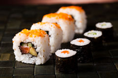 Set of sushi, oriental cuisine colorful theme Royalty Free Stock Images