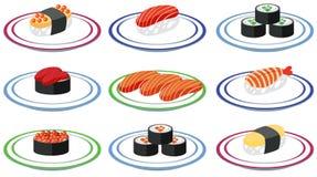 Set of sushi on plate. Illustration stock illustration