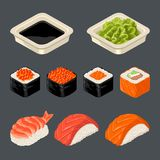 Set Sushi roll. Isolated on dark background. Vector flat color illustration. Set Sushi roll and nigiri. Wasabi and soy sauce in a plate. Isolated on dark royalty free illustration