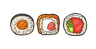 Set Sushi roll. Isolated on white background. Vector flat color illustration. Set Sushi. Philadelphia with smoked salmon, cream cheese and cucumber. Roll with royalty free illustration