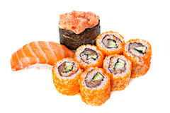 Set of sushi roll Japanese food menu in restaurant. Royalty Free Stock Photos